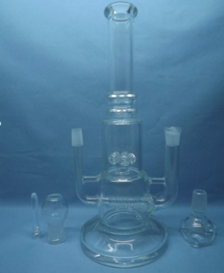 QYF2322-Double Funtional Inline Percolator Glass Bongs