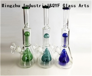 QYF09010---Double Beaker Pyrex Glass Bongs For Smoking
