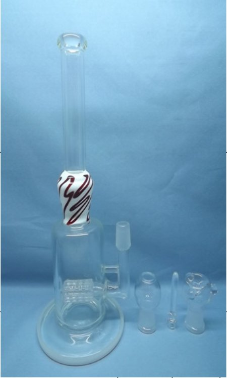 QYF2256-Matrix Percolated Pyrex Glass Smoking Water Pipes